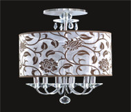 6 Light Crystal Flush Mount With Flower Shade KL-41052-1820-F