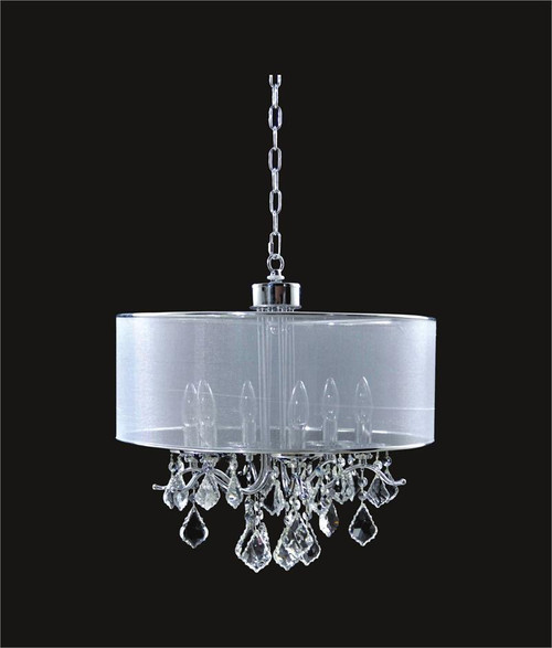 6 Light Crystal Chandelier With Satin Shade KL-41052-1818-S