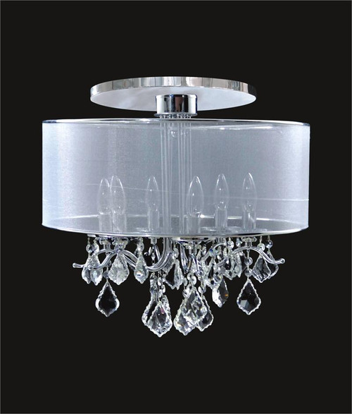 6 Light Crystal Flush Mount With Satin Shade KL-41052-1820-S