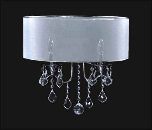 2 Light Crystal Wall Sconce With Satin Shade KL-41052-1813-S