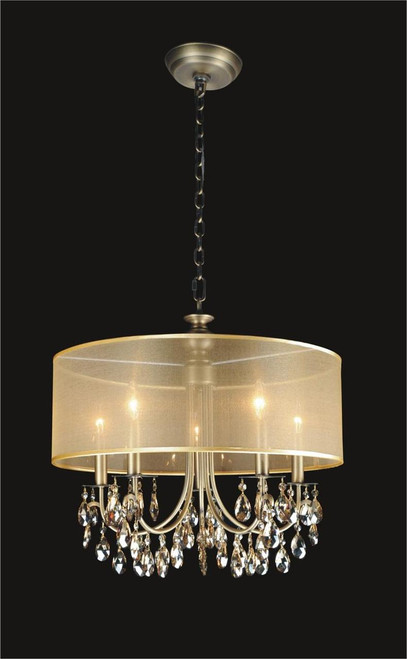 5 Light Crystal Chandelier With Golden Teak Shade KL-41052-2220-GT
