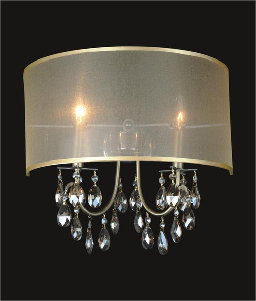 2 Light Crystal Wall Sconce With Golden Teak Shade KL-41052-1614-GT