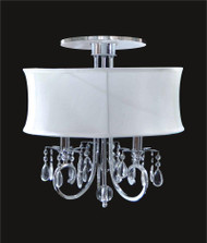3 Light Crystal Flush Mount With White Shade KL-41052-1821