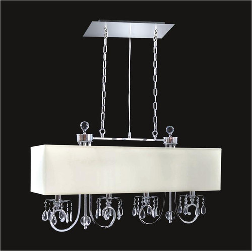 4 Light Crystal Chandelier With White Shade KL-41052-3610