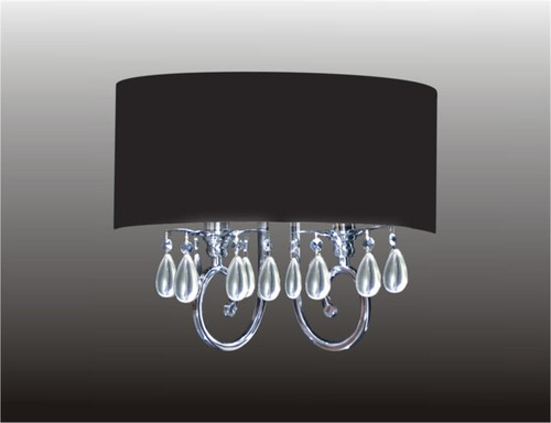 2 Light Crystal Wall Sconce With Black Shade KL-41052-1614