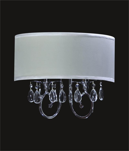 2 Light Crystal Wall Sconce With White Shade KL-41052-1614