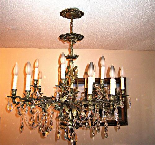 15 Light Antique French brass crystal chandelier K15