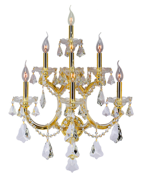 7 Light Maria Theresa Crystal Wall Sconce KL-41039-7-G