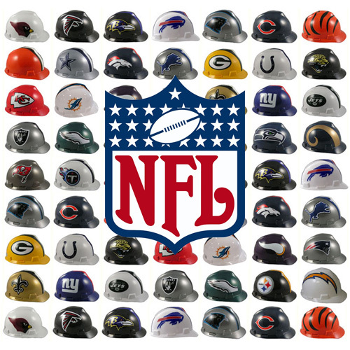 NFL team hard hats