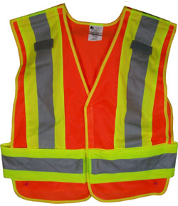 high-visibility orange safety vest