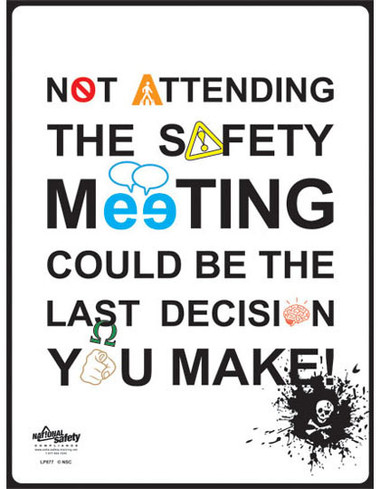 Safety Meeting Typography Safety Posters in ENGLISH  pic 1