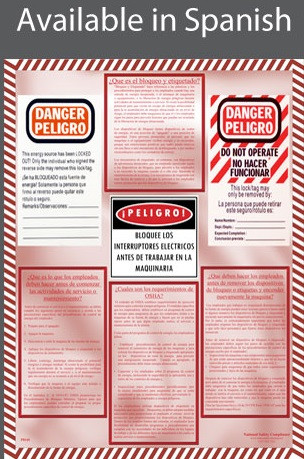 Lockout / Tagout Informational Poster in SPANISH  pic 1