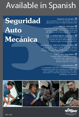 Auto Mechanic Safety Poster in SPANISH  pic 1