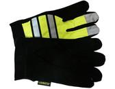 Hi-Vis Lime Split Deerskin Multi-task Glove w/ Velcro pic 2