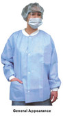 Polypropylene Lab Jacket Blue w/ 3 Pockets. Snap Front   pic 2