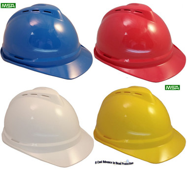 MSA Advance Vented Hard Hats with Ratchet Suspensions All Colors