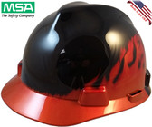 MSA Black Fire V-Gard Hard Hats with Ratchet Suspension - Oblique View