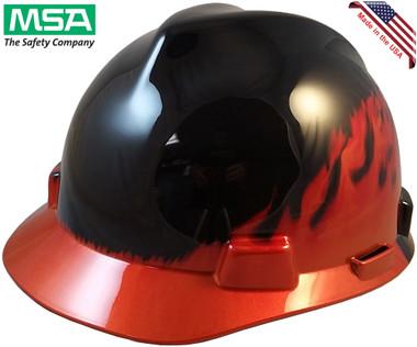 MSA Black Fire V-Gard Hard Hats with Ratchet Suspension - Oblique View