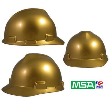 MSA Metallic Gold V-Gard Hard Hats with Ratchet Suspension. pic 1