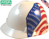 MSA V-Gard with Dual American Flag on Both Sides Hard Hats - Oblique View
