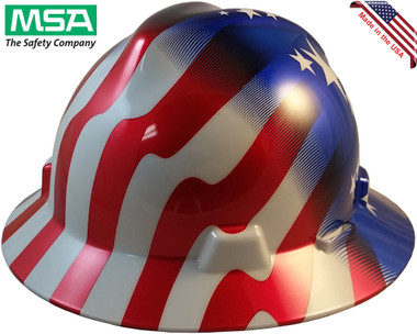 MSA FULL BRIM American Stars and Stripes Hard Hats - Oblique View