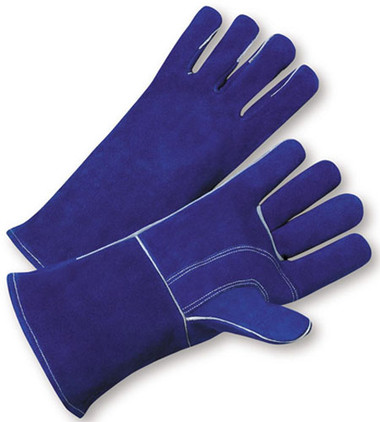 Welding Gloves w/ Blue Leather & Kevlar Stitches Pic 1