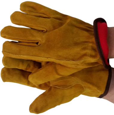 Grain Cowhide Gloves with Red Fleece Lining
