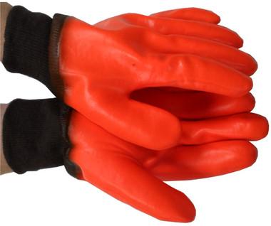Orange PVC Gloves w/ Foam Lining and knit wrists Pic 1