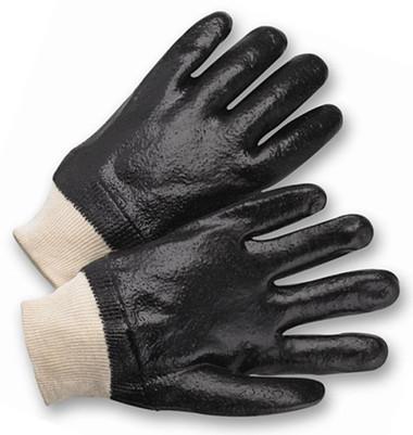 PVC Gloves w/ Rough Finish & Knit Wrists Pic 1