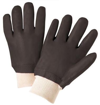 PVC Gloves w/ Sandpaper Finish & Knit Wrists Pic 1