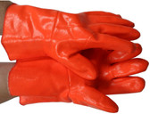 Orange PVC Gloves 12 inch w/ Foam Lining Pic 1