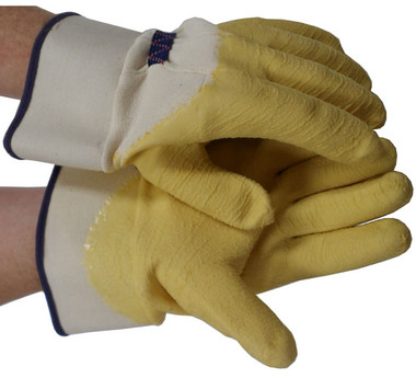 Rubber Palm Coated With Safety Cuff Gloves Pic 1