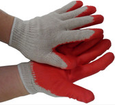 Cotton String Knit Gloves w/ Red Dipped Rubber Palm Pic 1
