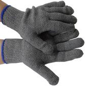 GRAY Medium Weight Cotton String Knit Gloves Pic 1