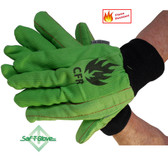 18 Ounce Cotton Corded Green FR Oilfield Gloves Pic 1