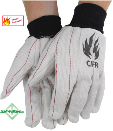 18 Ounce Cotton Corded White FR Oilfield Gloves Pic 1