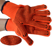 ORANGE String Knit Gloves w/ Black Dots on Both Sides Pic 1