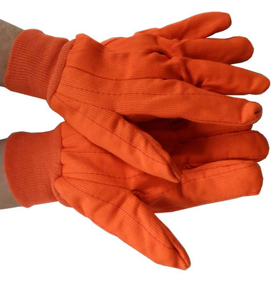 Double Palm Cotton/Polyester Orange Polychord Gloves Pic 1