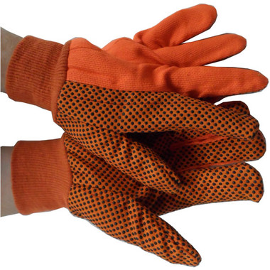 ORANGE Polychord Glove with Black Dots on One Side Pic 1