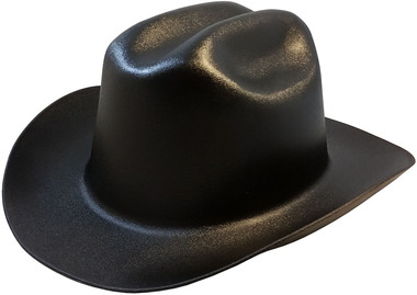 Outlaw Cowboy Hardhat with Ratchet Suspension Black Obique View