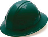 Pyramex 4 Point Full Brim Style with RATCHET Suspension Green - Oblique View