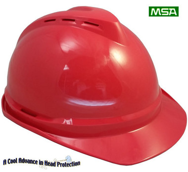 MSA Advance Vented Hard Hats  Red