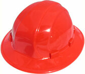 ERB Omega II Full Brim Hard Hats With Ratchet Suspension Red