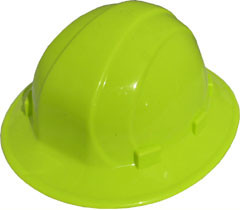 ERB Omega II Full Brim Hard Hats w/ Ratchet Hi Viz Yellow pic 1