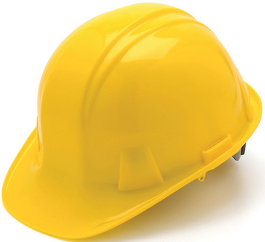 Pyramex 4 Point Cap Style Hard Hats with RATCHET Suspension Yellow - Oblique View