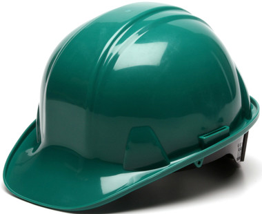 Pyramex 4 Point Cap Style Hard Hats with RATCHET Suspension Green - Oblique View