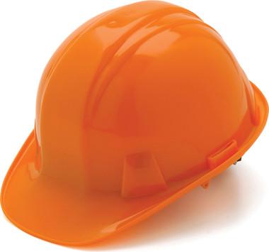 Pyramex 4 Point Cap Style Hard Hats with RATCHET Suspension Orange  - Oblique View
