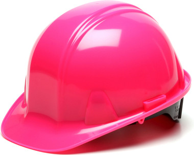 Pyramex 4 Point Cap Style Hard Hats with RATCHET Suspension Hi Viz Pink - Oblique View