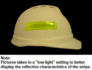 Lime Reflective Strips for Hard Hats Pic 1