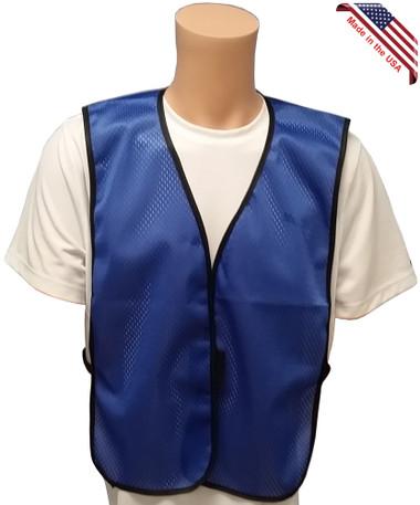 Royal Blue Soft Mesh Plain Safety Vest - Front View